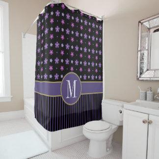 Unique Purple Black Floral Striped Gold Monogram Shower Curtain