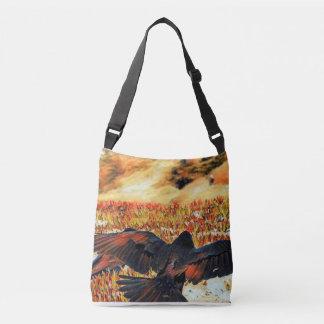 Unique Raven wings crossbody handbag