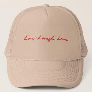 Unique Red Live Laugh Love Hand Lettered Trucker Hat