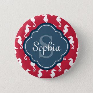 Unique Red Seahorse Pattern Blue Monogram 6 Cm Round Badge