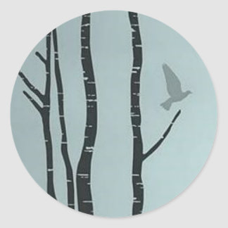 Unique silver birch, bird artwork round sticker