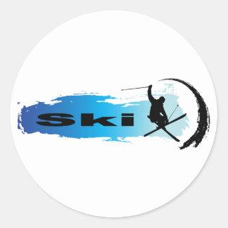 Unique Ski Round Sticker