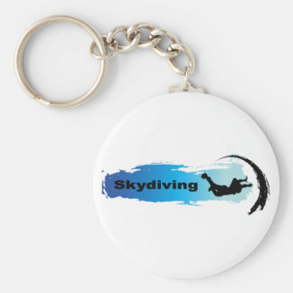 Unique Skydiving Basic Round Button Key Ring