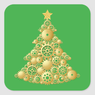 Unique Steampunk Gold Christmas Tree on Green Square Sticker