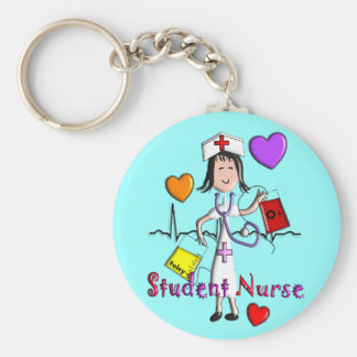 Unique Student Nurse Gifts 3D Graphics Basic Round Button Key Ring