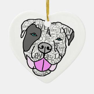 Unique & Stylish Pit Bull Love Graphic Ornament