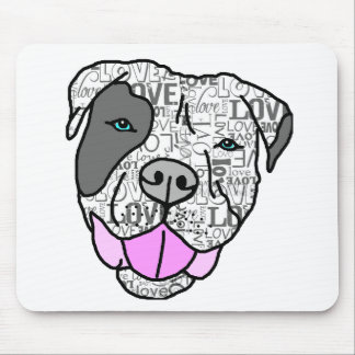Unique & Stylish Pit Bull Love Graphic Mouse Pad