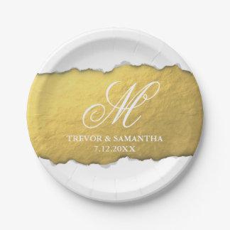 Unique Torn Out Look Faux Gold Foil Wedding Paper Plate