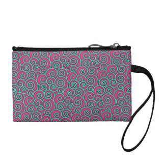Unique Trendy Wavy Swirly Pink Turquoise Abstract Coin Purse