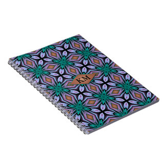 Unique Turquoise and Purple Jewel Fractal Monogram Spiral Notebook