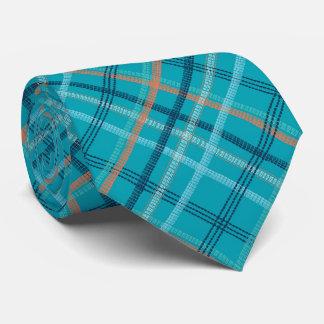 Unique Turquoise Blue Plaid Tie