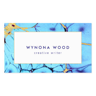 Unique Turquoise Gold Abstract Watercolor Pack Of Standard Business Cards