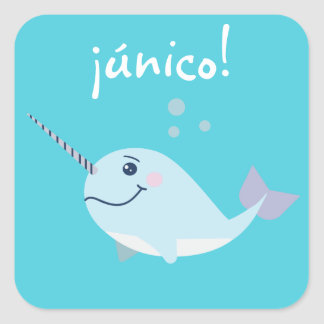"""Unique/único"" Cute Sticker with Narwhal"