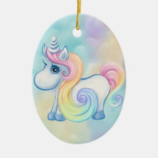 Unique Unicorn Pastel Cloud Christmas Ornament