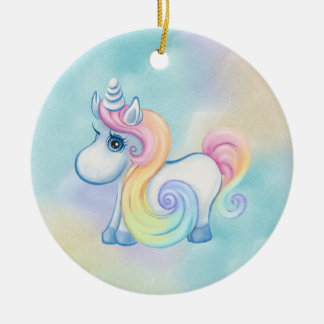 Unique Unicorn Pastel Cloud Round Ceramic Decoration