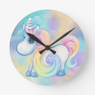 Unique Unicorn Pastel Cloud Round Clock
