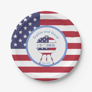 Unique USA flag 4th of July Party I DO BBQ 7 Inch Paper Plate