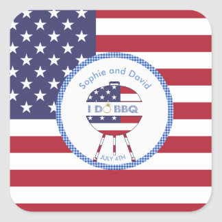 Unique USA flag 4th of July Party I DO BBQ Square Sticker