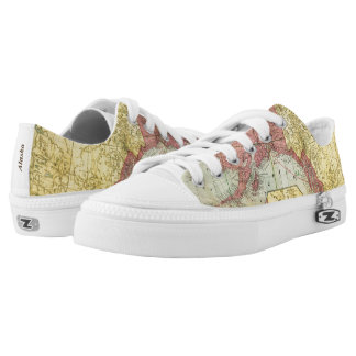 Unique Vintage Alaska Map Low Tops
