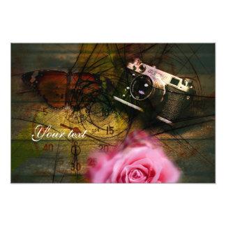 Unique vintage camera, clock and flower art photo