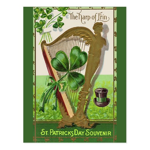 Unique vintage illustration - The Harp of Erin Postcard