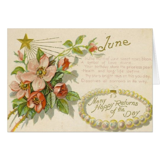 Unique Vintage June Birthday Greeting Card