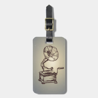 Unique Vintage Phonograph. Retro Style Gramophone Luggage Tag