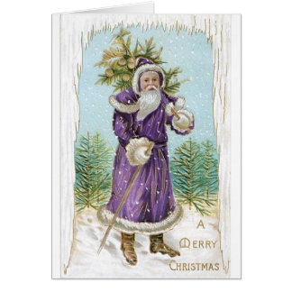 Unique vintage Santa in Purple!  Christmas Card