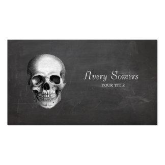 Unique Vintage Skull Etching Black Business Business Cards