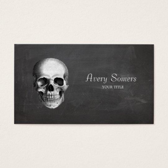 Unique Vintage Skull Etching Black Business Business Card