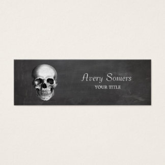 Unique Vintage Skull Etching Grungy Mini Business Card