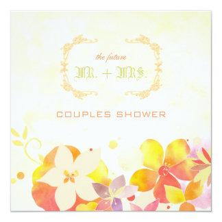 Unique Watercolor Floral Couple Shower 13 Cm X 13 Cm Square Invitation Card