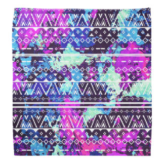 Unique Watercolor Paint Aztec Tribal Cutout Bandana