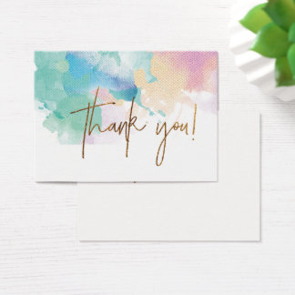 ★ Unique Watercolour Gold Modern Thank you Business Card