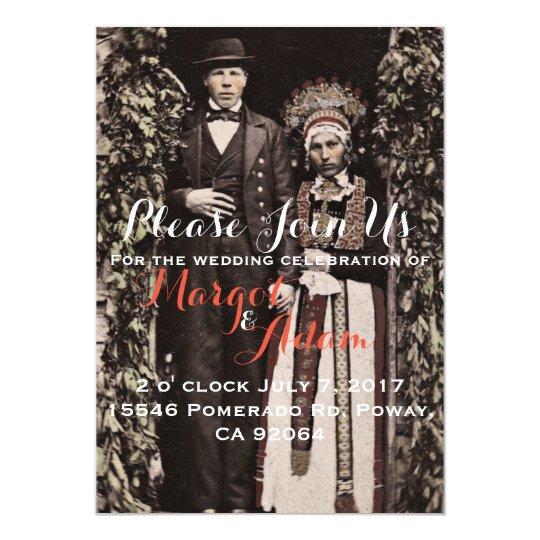 Unique Wedding Invitation, Quirky, Vintage Card