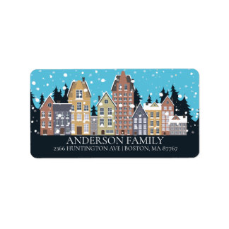Unique Winter City Houses Christmas Address Label