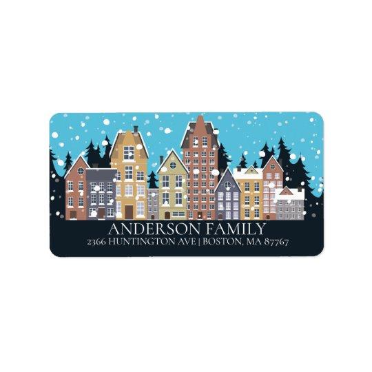 Unique Winter City Houses Christmas Address Label