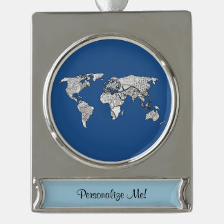 Unique World Map Art Doodle Silver Plated Banner Ornament