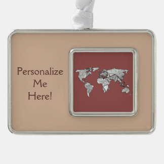 Unique World Map Art Doodle Silver Plated Framed Ornament