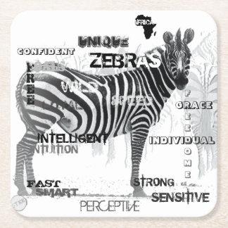 Unique Zebras Square Paper Coaster