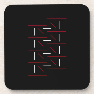 Uniquely Cool Red, Black & White Line Pattern Coaster