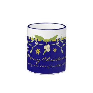 Uniquely designed blue christmas thank you mug