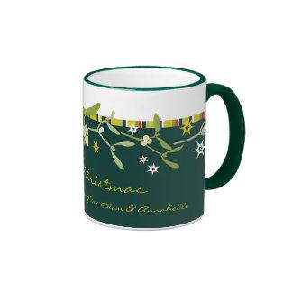 Uniquely designed green christmas thank you mug