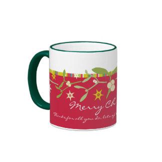 Uniquely designed red christmas thank you mug
