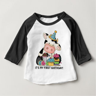 Unisex baby cow First Birthday t-shirt