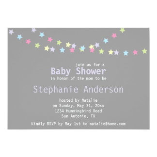 "Unisex Baby Shower Colorful Pastel Stars 5"" X 7"" Invitation Card"