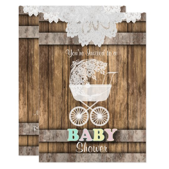 Unisex Baby Shower in Rustic Wood and Lace Card