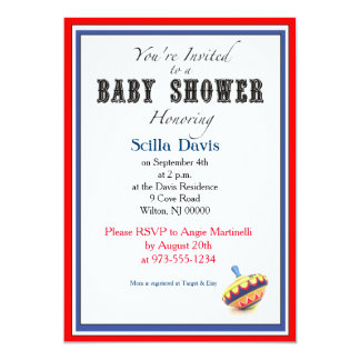 "Unisex Baby Shower Invitation Vintage Spinning Top 5"" X 7"" Invitation Card"