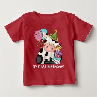 Unisex Birthday cow First Birthday t-shirt