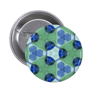 Unisex Blue Green Geometric Patterns Shapes 6 Cm Round Badge